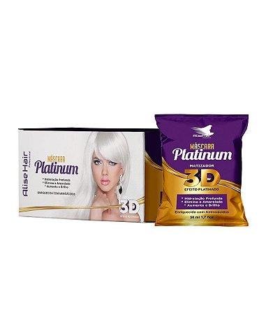 Alise Hair Máscara Platinum Matizador 3D Efeito Platinado Caixa 24un 50ml