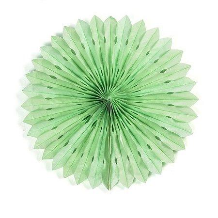 Margarida Leque de Papel Decorativa Verde Claro - 30 cm