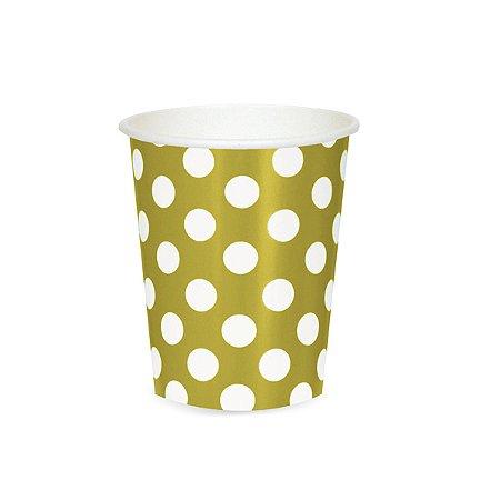Copo Dourado com Poás Brancos - 220 ml - Embalagem com 10 Unidades