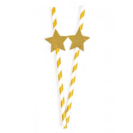 Canudos com Tag Estrelas - Embalagem com 5 Unidades