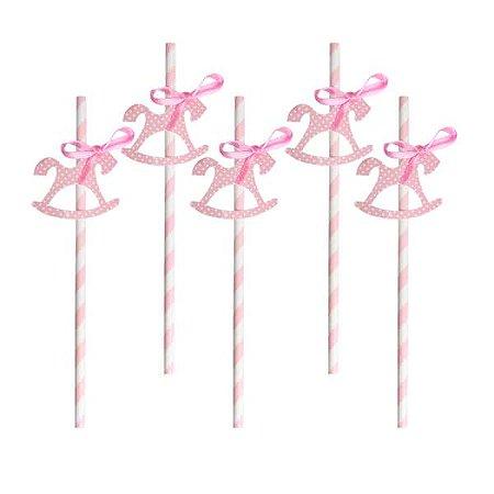 Canudo de Papel Carrossel Rosa - Embalagem com 5 Unidades