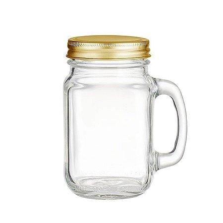 Mason Jar Tradicional com Tampa Dourada - 500 ml - 1 Unidade