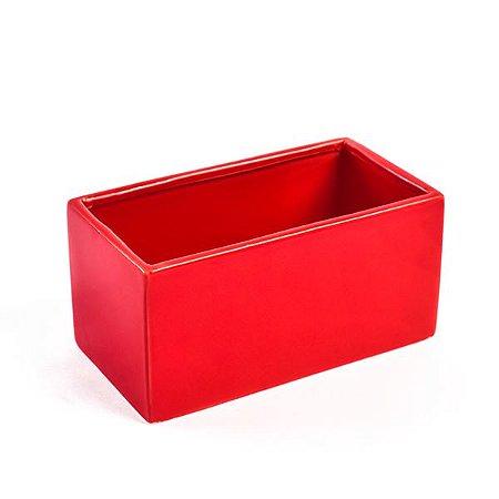 Vaso de Cerâmica Retangular Vermelho - 8.5 x 16 cm - 1 Unidade