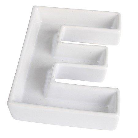Letra E Decorativa de Cerâmica - 19 cm - 1 Unidade