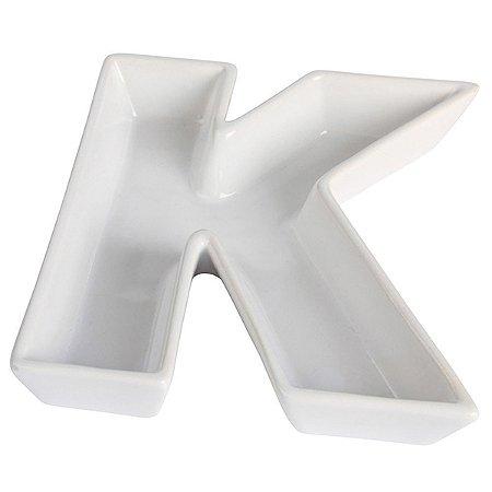 Letra K Decorativa de Cerâmica - 19 cm - 1 Unidade