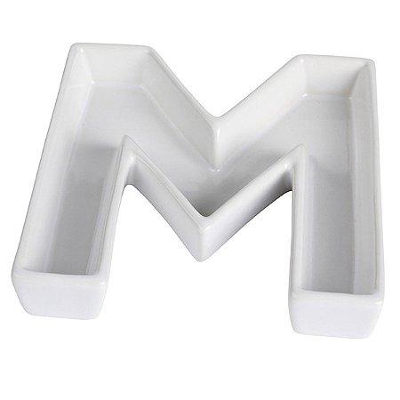 Letra M Decorativa de Cerâmica - 19 cm - 1 Unidade