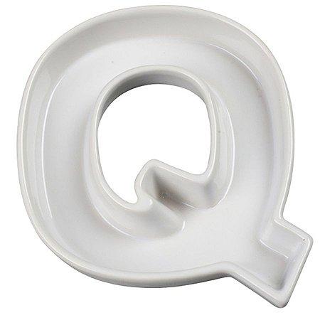 Letra Q Decorativa de Cerâmica - 19 cm - 1 Unidade