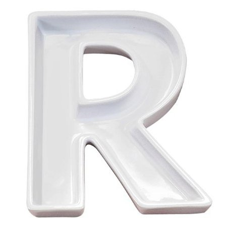 Letra R Decorativa de Cerâmica - 19 cm - 1 Unidade