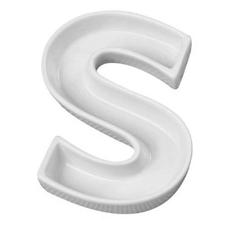 Letra S Decorativa de Cerâmica - 19 cm - 1 Unidade