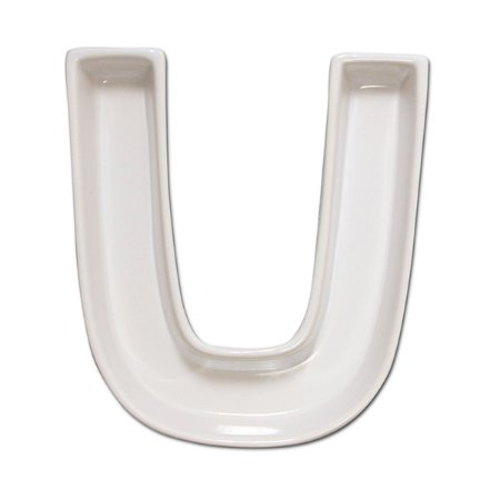 Letra U Decorativa de Cerâmica - 19 cm - 1 Unidade