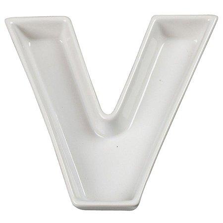 Letra V Decorativa de Cerâmica - 19 cm - 1 Unidade