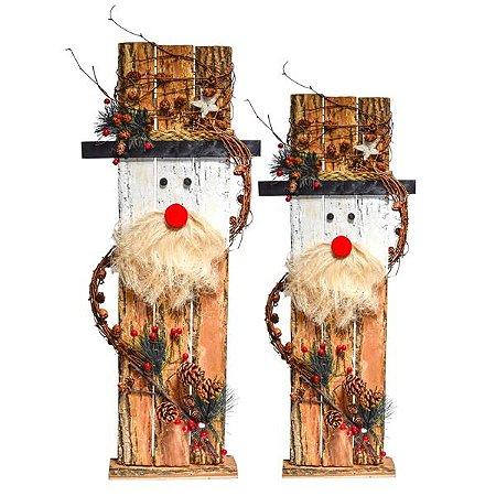 Papai Noel em Madeira - 83 cm - 1 Unidade