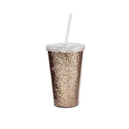 Copos Glitter + Canudo - 500 ml - 1 Unidade