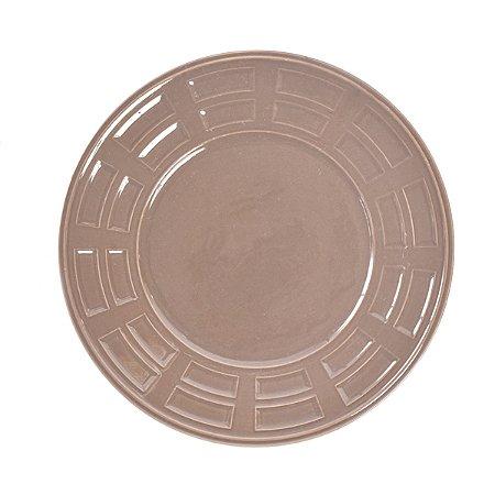 Prato de Cerâmica Fendue Gris - 26 cm - 1 Unidade