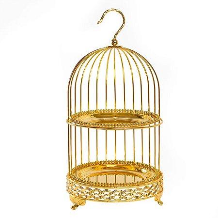 Porta Doces Gaiola Luxo Dourado - 52 cm - 1 Unidade