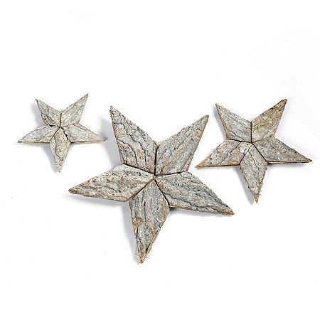 Estrela de Madeira Natural - 20 cm - 1 Unidade