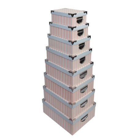 Caixa Retangular Cantoneira Flores Azul e Rosa - Kit com 8 Unidades
