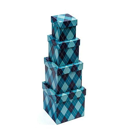Caixa Quadrada Pequena Xadrez Azul - Kit com 4 Unidades