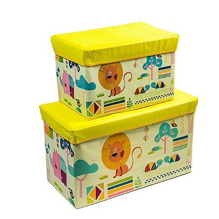 Caixa Retangular Orzanizadora Kids Leão Amarelo - 60 x 30 cm - 1 Unidade