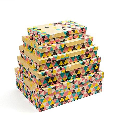 Caixa Retangular Baixa Triângulo Mix - Kit com 5 Unidades