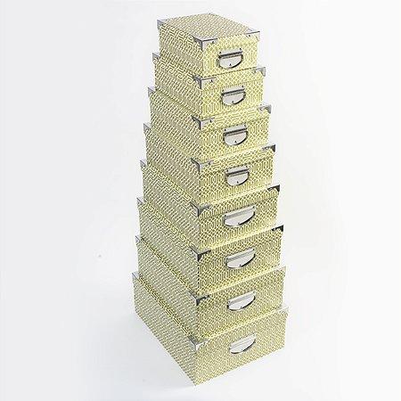 Caixa Retangular Cantoneira Glamour - Kit com 8 Unidades