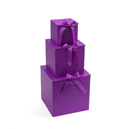 Caixa Quadrada com Laço Roxo - Kit com 3 Unidades