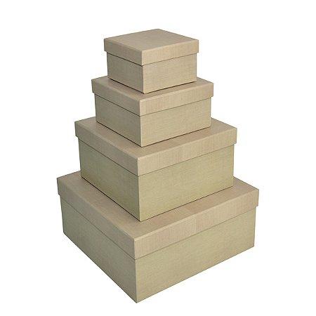 Caixa Quadrada Alta Linho - Kit com 4 Unidades