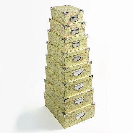 Caixa Retangular Cantoneira Selos - Kit com 8 Unidades