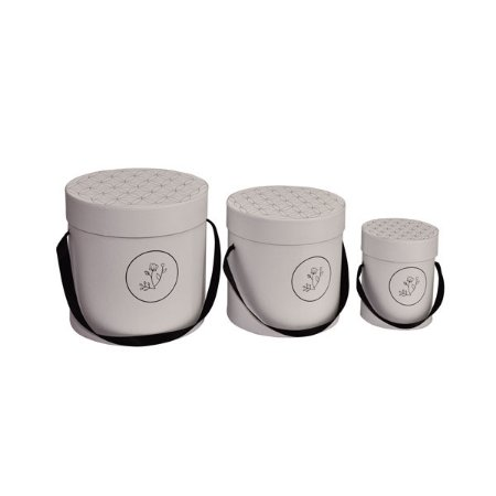 Caixa Redonda Alta Bloombie Branco - Kit com 3 Unidades