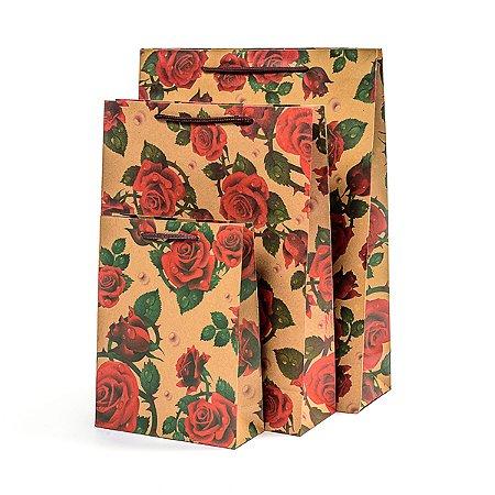 Sacola Kraft Floral - 33 x 24 cm - 1 Unidade