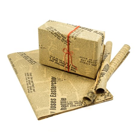 Papel Decorado NewsPaper Kraft - 70 x 50 cm - Kit com 50 Folhas
