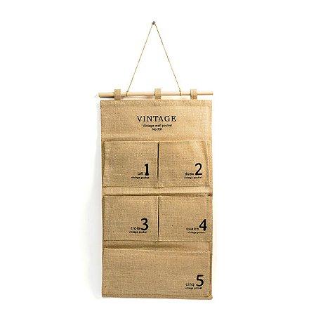 Organizador Vintage de Juta  - 60 x 35 cm - 1 Unidade