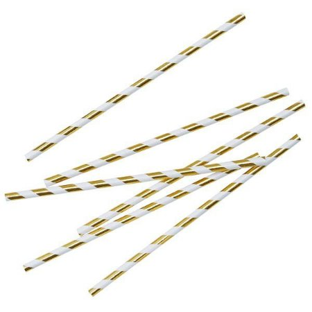 Canudo de Papel Dourado Listras - Embalagem com 20 Unidades