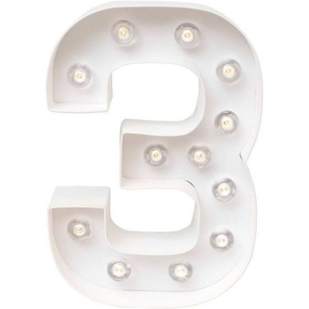 Número Luminoso LED/ 3 - 22 CM - 1 Unidade