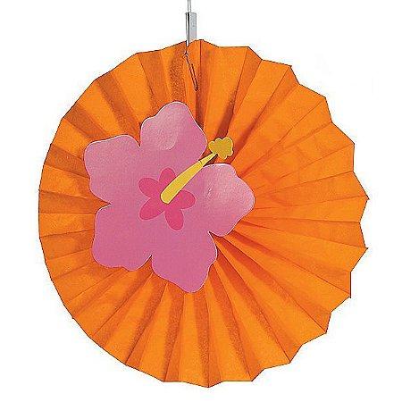 Leque de Papel com Aplique 3D Flor de Hibisco Laranja