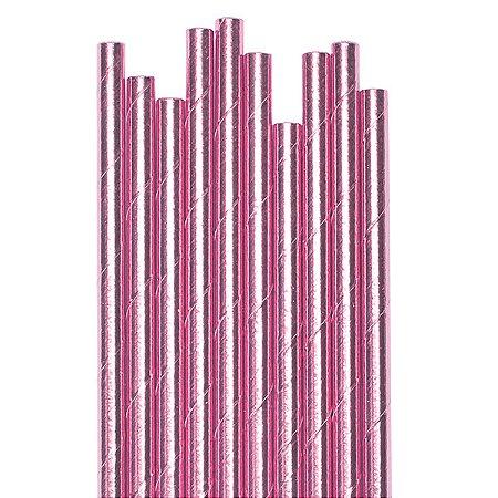 Canudo Rosa Metalizado - 19.5 cm - Embalagem com 20 unidades