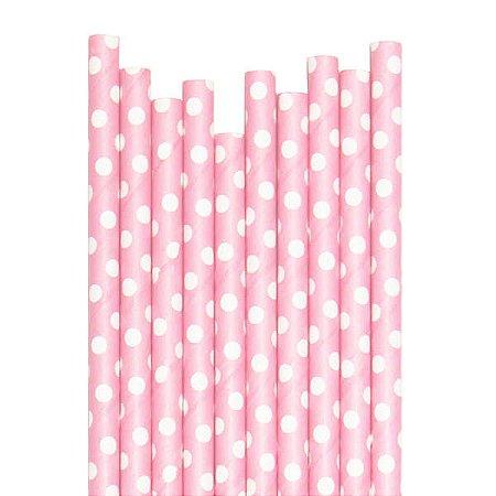 Canudo Rosa Claro Bolas - 19.5 cm - Embalagem com 20 unidades