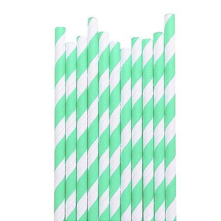 Canudo Mint Listras - 19.5 cm - Embalagem com 20 unidades