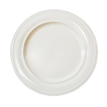 Prato Cerâmica White com Detalhes - 27 cm - 1 Unidade