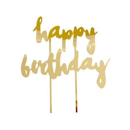 Topo para Bolo - Happy Birthday Dourado - 18.5 cm - 1 Unidade