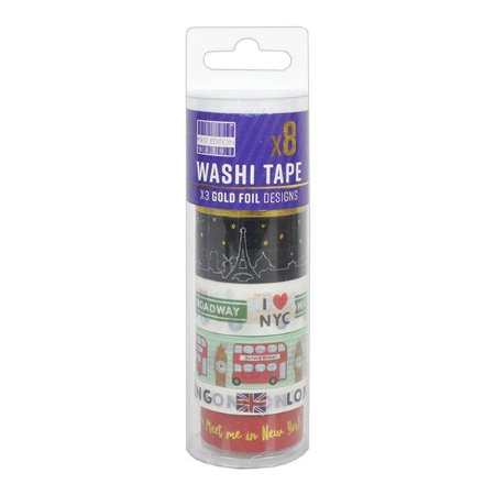 Tubo Fita Adesiva Washi Tape City - 1,5 cm x 5 m. 1 Unidade