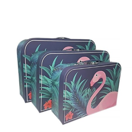 Caixa Maleta Flamingo Tropical - Kit com 3 Caixas