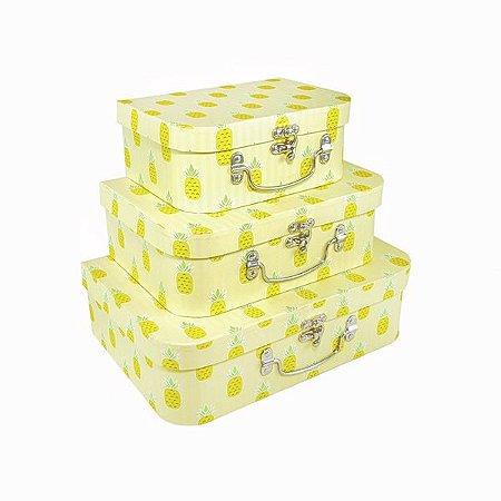 Caixa Maleta Abacaxi - Kit com 3 Caixas