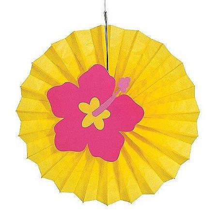 Leque de Papel com Aplique 3D Flor de Hibisco Amarelo - 1 Unidade