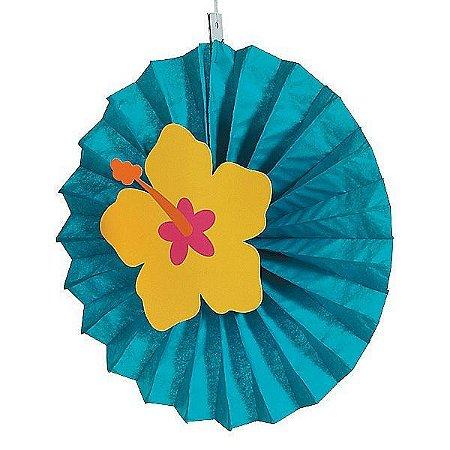 Leque de Papel com Aplique 3D Flor de Hibisco Azul - 1 Unidade