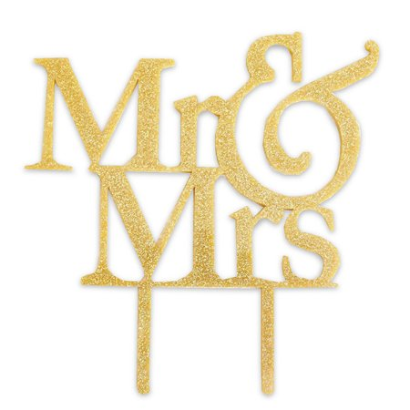 Topo para Bolo Mr&Mrs Dourado -  1 Unidade