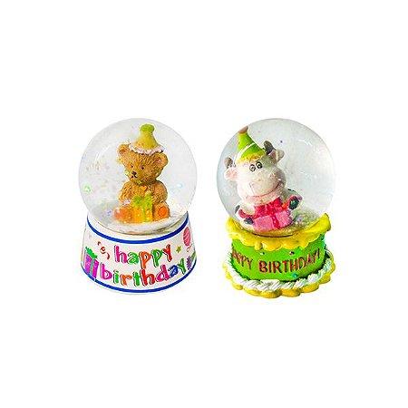 Globo de Neve Happy Birthday - Kit com 12 Unidades