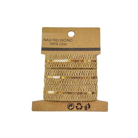 Fita de Juta com detalhe Dourado - 1 Unidade