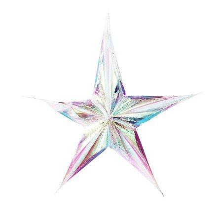 Enfeite de Papel Estrela Furta-Cor G - 1 Unidade
