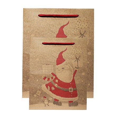 Sacola Kraft Feliz Natal II - 12 Peças - Estampas Sortidas
